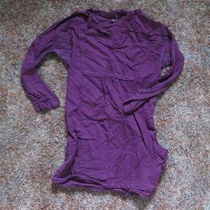 H&M Striped Tunic Top, 3/4 Sleeve, Pockets, Purple